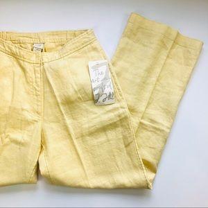 NWT J. Jill linen yellow wide leg crop pants 2 P